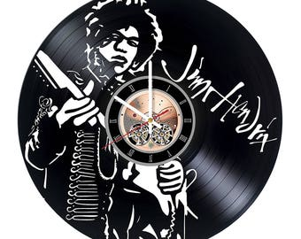 Jimi Hendrix Vinyl Record Wall Clock gift idea wall art decor
