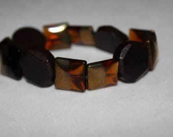 Gold and Brown Stretch Bracelet