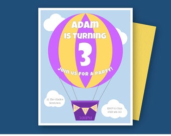 Hot-air Balloon Invitation/ Hotair Balloon Birthday Invite/ Hot air balloon invitation/ boy and girl/ printable and download