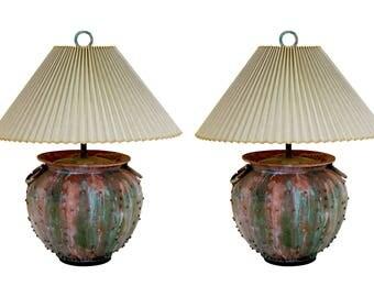 Vintage Faux Verdigris Metal Lamps - A Pair