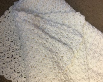White Crochetted Baby Blanket