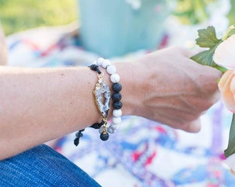 Diffuser Bracelet Combo: Black Leather Geode & Howlite Energy Stone
