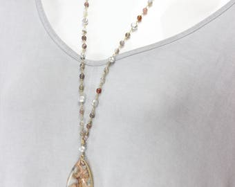 Agate and Pearl Adjustable Necklace