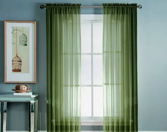 Olive Green Curtains Etsy
