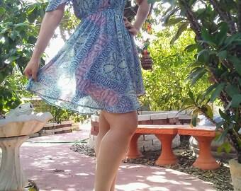 1970s Inspired Off Shoulder Hippie Mini Dress