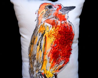 Little red Robin cushion