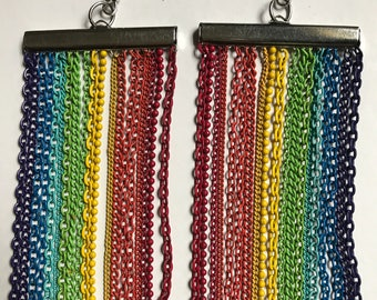 Rainbow Color Chain chandelier earrings