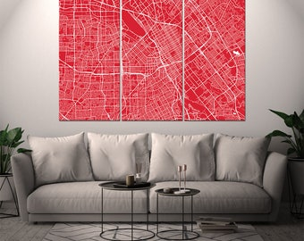 San Jose California / City Map / Canvas Print / Wall Art / Large 3, 5 or 6 panel