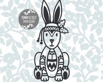 Tribal Bunny SVG - Silhouette, Cricut, Cutting File, Kids svg, Digital Download, dxf, png, jpg, pdf