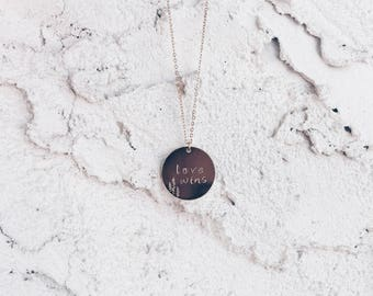 Customizable Hand Stamped Pendant Necklace