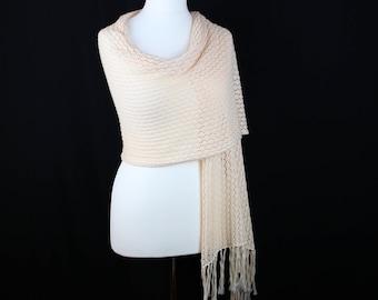 Peach knit shawl, Summer shawl, Cotton shawl, Lace knit shawl, Womens knitted shawl