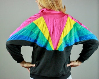 80s Rainbow Windbreaker. Vintage Windbreaker. Rainbow Windbreaker. Bold Windbreaker. 80s clothing. 80s clothing women. 80s sweatshirt. pride