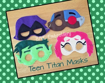 Teen Titan Inspired Felt Mask-Beast Boy-Cyborg-Raven=Starfire-Child's Dress Up/Imaginary Play- Birthday Party Favor-Photo Shoot-Theme Party