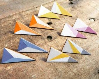Wooden Triangle Earrings
