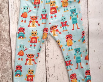 Robot leggings, kids leggings , kids trousers, kids clothes, baby shower gift, baby gift, joggers, birthday outfit, robots