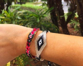 Silver Black Evil Eye / Black & Pink Woven Beaded Tassel Detailed Friendship Bracelet Combo