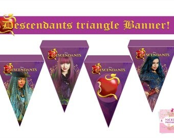 Descendants 2 Happy Birthday Banner Mal  Uma  Evie  APPLE -Instant Download!!!!