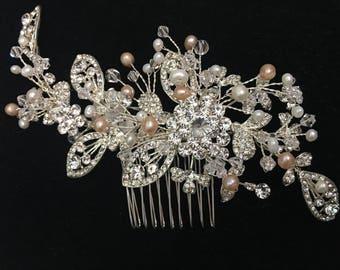 Rhinestone and beaded pearl Bridal haircomb