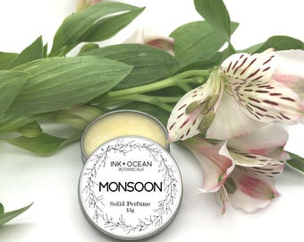 Monsoon- Solid Perfume, Vegan, Alcohol Free, With Jojoba Oil, Lemon,  Orange, Ylang Ylang, Vetiver And Oakmoss Essential Oils.