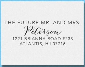 Future Mr and Mrs Personalized Return Address Stamp, Custom Wedding Stamp, Wedding Favor Stamp, Self Inking Address Stamp