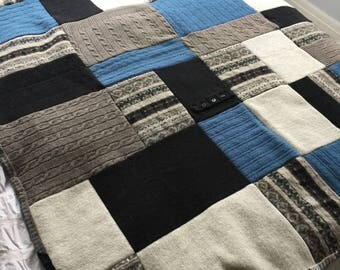 ON SALE! Upcycled pure wool throw, blanket