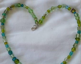 Vintage Green Glass Necklace