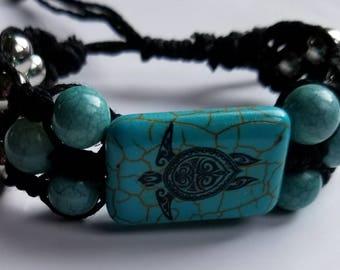 Turquoise Turtle Hemp Bracelet