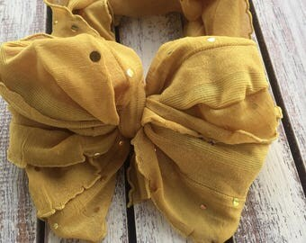 Mustard messy bow wrap