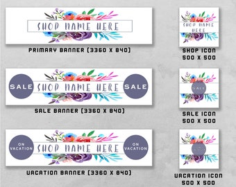 Premade Banner and Icon Set for Etsy and Facebook, Shop Front, Cover Image, Business Design / Branding.