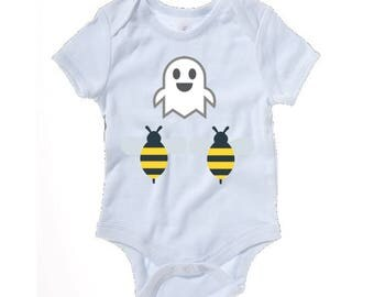 Emoji Boo Bees funny baby grow - baby clothes