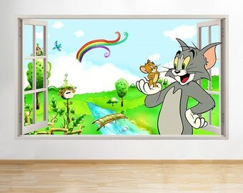 R800 Tom Jerry Cat Mouse Kids Cool Window Wall Decal 3D Art Stickers Vinyl  Room Part 38