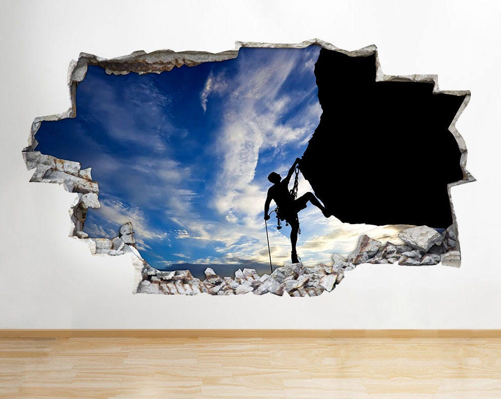 F846 Cliff Rock Climbing Bedroom Smashed Wall Decal 3D Art Stickers Vinyl  Room