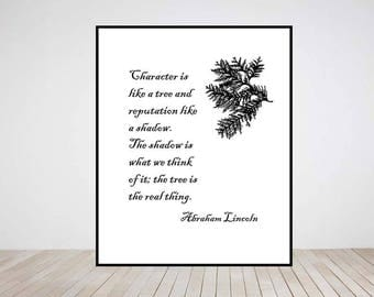 Digital download tree leaves Abraham Lincoln quote gift home decor