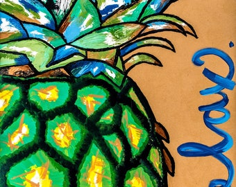 Acrylic Hawaiian Pineapple Painting
