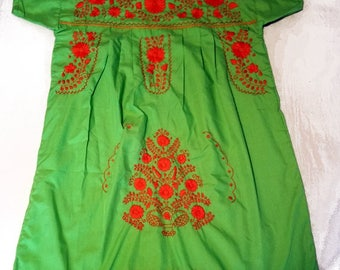 Large - Lime Green Mexican Dress (Short/Above Knee)