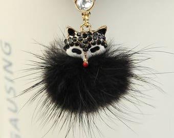 Fur Fox Rhinestone Dust Plug