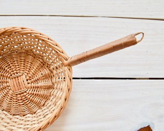 Vintage Basket with Handle || Wicker Woven Basket Wrapped Handle