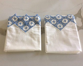 Handmade vintage embroidered pillowcase, set of two