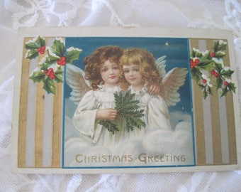 Antique Christmas Postcard with Angels c1911