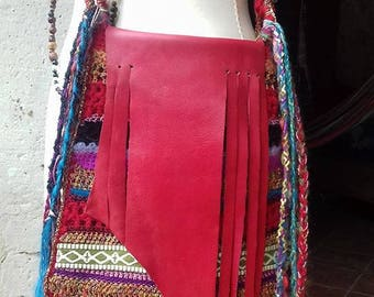 crochet red fringe leather bag