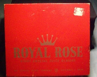 Eight Royal Rose Glasses Federal Glass