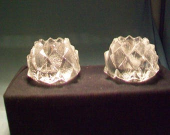 Pair Orrefors Sweden Firefly Candle Holders
