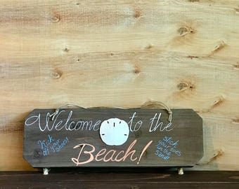 Wooden Beach Welcome Sign