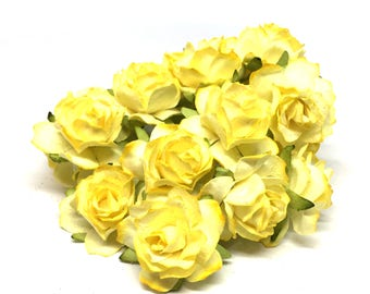 Two Tone Lemon Classic Mulberry Paper Roses Cr016