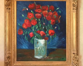 Still Life Poppies, Oil Painting, Flowers on Canvas, Red Poppy Oil Painting