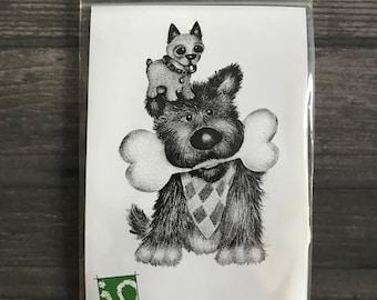 Impression Obsession Dog on Dog Rubber Cling Stamp