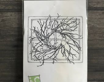 Impression Obsession Window with Wreath Rubber Stamp