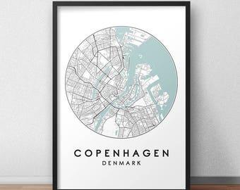 Copenhagen City Print, Street Map Art, Copenhagen Map Poster, Copenhagen Map Print, City Map Wall Art, Copenhagen Map, Travel Poster