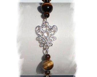 Tiger eye bracelet, 925 sterling silver, natural stones