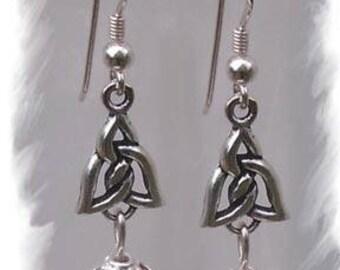 Earrings in 925 sterling silver and carnelian (celtica)